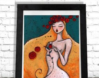 Bohemian Home Decor, Boho Wall Hanging, Nude Woman, Art Print, Gypsy Chic, Tasteful Female Nudity, Bedroom Decor, Boudoir Artwork, Shano