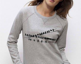 Women's organic cotton sweatshirt Light gray chiné round neck