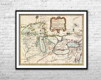 Great Lakes map 1775 - New France map Canada map French Canada map History gift North America Old Map Vintage map art Wall Art Decoration