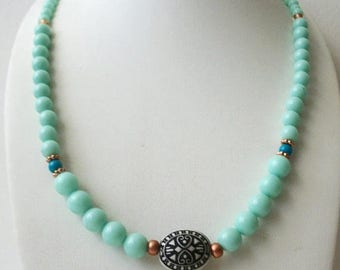 ON SALE Retro Colorful Aqua Green Plastic Beads Carved Tribal Focal Necklace 51017