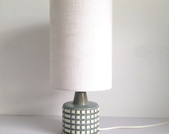 70s pottery lamp etsy poole pottery helios lamp base and vintage linen shade mozeypictures Images