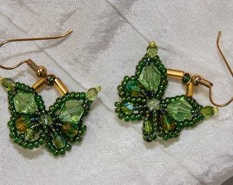 Butterfly Earrings in Olive Green and Gold