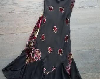 Betsey Johnson BURNOUT Silk VELVET Biascut Dress (xs-s)