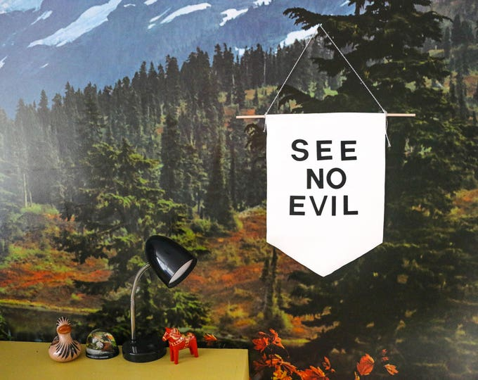 Featured listing image: Reserved for Amelia Do Not Purchase SEE NO EVIL Handmade Banner Wall Hanging Decor Home Vinyl Black White Felt Letters Tamer Animals