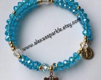 Blue Memory Rosary Bracelets / Pulseras Rosario Azul de Memoria