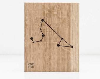 Leo Constellation Picture - Zodiac - Wooden handmade - Woodworking - Wood - Sign - Wall Art- Custom - Personalized - Gift - 11 cm x 14 cm