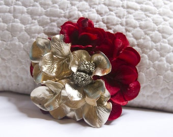 Red and Gold Hydrangea Flower Hair Clip with Golden Pyrite