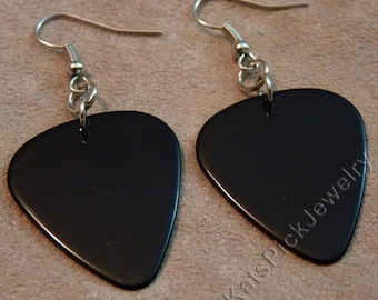 Black Genuine Guitar Pick Earrings with Stainless Surgical Steel French Hooks