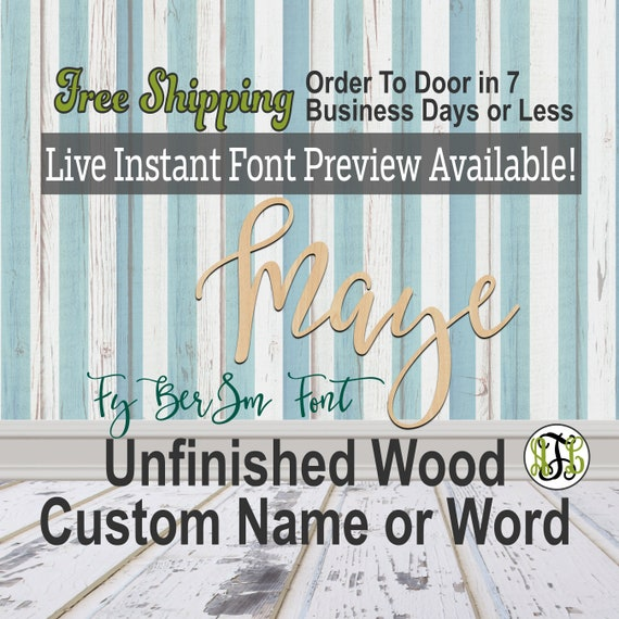FyBerSm Font Custom Name or Word Sign, Cursive, Connected, wood cut out, wood cutout, wooden, Nursery, Wedding, Birthday, name sign, Script