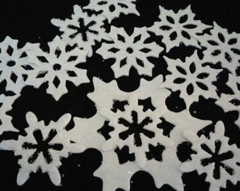 24 Edible Large SPARKLY SNOWFLAKES / any color /sugar, gum paste / fondant / various layers / cake or cupcake toppers