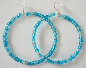 Blue Beaded Hoop Earrings - Glass Beads - Handmade - Homemade Jewelry