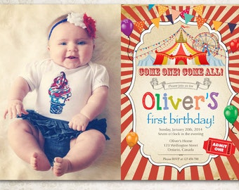 Circus birthday invitation. Boy Carnival birthday party invite with custom photo. Bday invite. Vintage Come one come all. Printable digital.