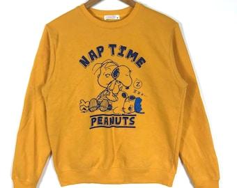 Rare !! Vintage 90s SNOOPY NAP TIME Peanuts Schultz Yellow Crew Neck Sweatshirt Medium Size