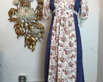 1970s dress maxi dress vintage dress puff sleeves size medium prairie dress vintage dress 34 bust hippie dress empire waist dress cotton