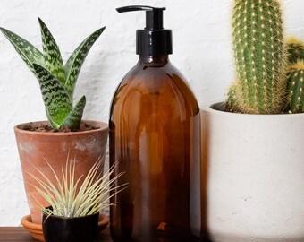 Amber Brown Glass Bottle Soap Dispenser Bottle