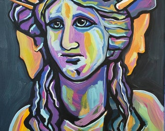 """Hekate Goddess of Witches ~ Original acrylic painting on 8"""" x 10"""" canvas based on the sculpture"""