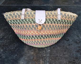 Summer Jute Tote   Resort vacation tote bag   Leather straps shoulder bag   Boho purse   Natural tan green peach    hipster tote bag hippie