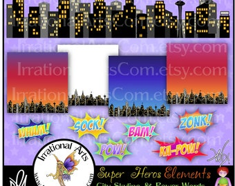 Super Heros Elements with City Skyline & Power Words INSTANT DOWNLOAD digital graphic clip art and 4 digital papers