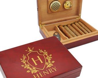 Cigar Box Humidor, Personalized Cigar Gift Set, Engraved Cigar Box, Monogram Cigar Humidor, Cigar Box Groomsman Gift, Humidor Wood