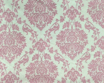 Paris Eiffel Tower France Glitter Pink Paisley Fabric Apparel Quilting 100% Cotton 1 Yard