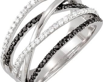 Gorgeous 14 Karat White Gold .50 Carat Black & White Diamond Criss-Cross Ring