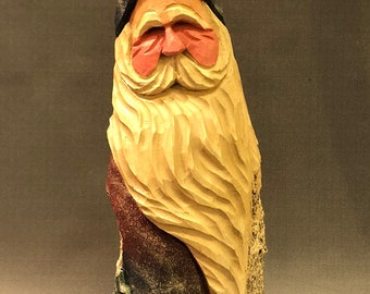 HAND carved original Santa and relief trees from 100 year old Cottonwood Bark.