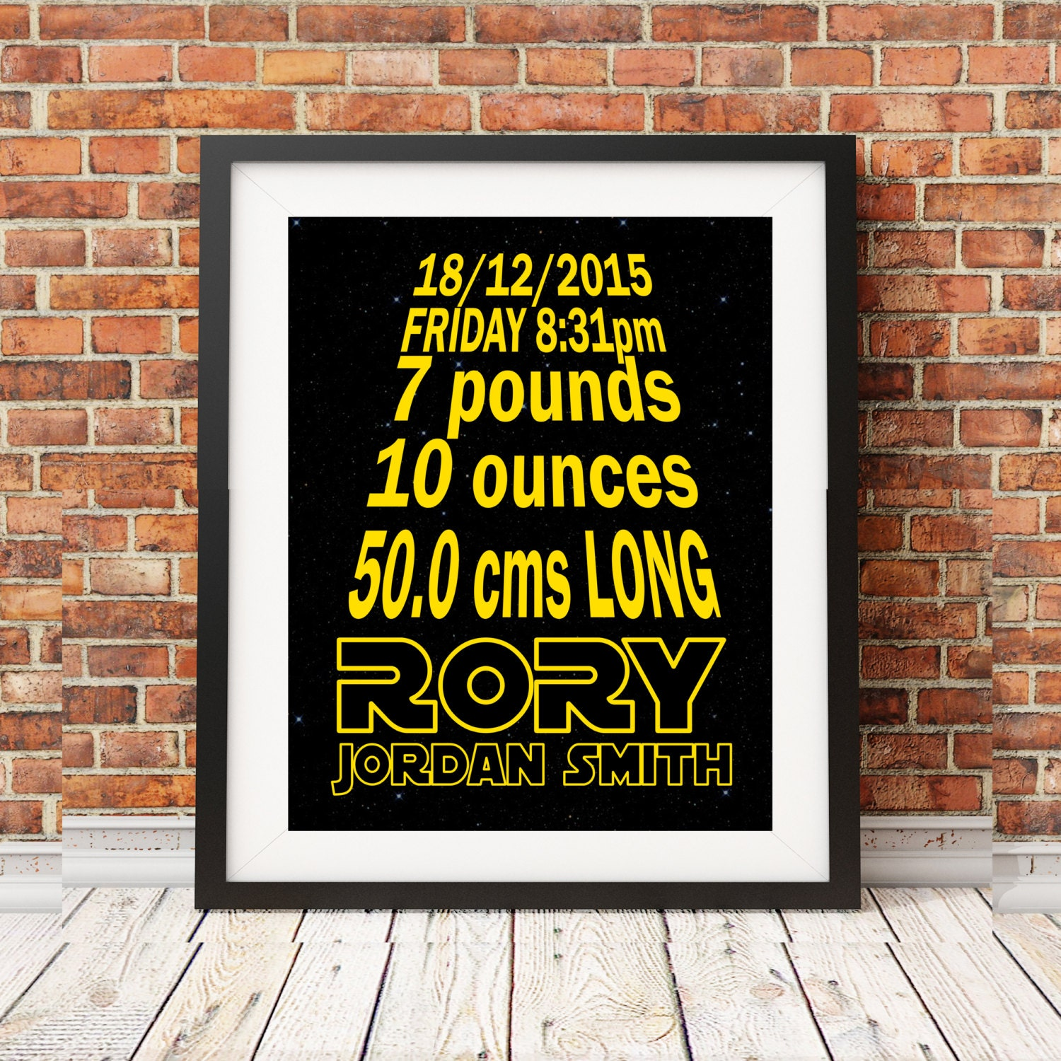 Star Wars Birth Stats Baby Nursery Art Print