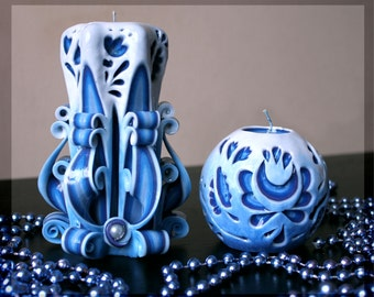 "Blue candle - Unusual gifts - candle - Carved candles ""Gzhel""- interior - Round candle - carving"