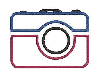 Camera Applique Machine Embroidery Design  Instant Download