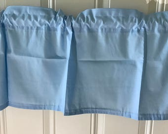 Solid light blue baby blue  curtain valance