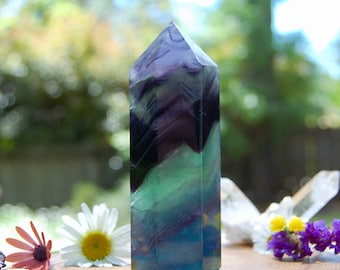 Rainbow Fluorite Crystal Tower, 234 Grams, Colorful Healing Stone Meditation Chakra, Receive EXACT Crystal GORGEOUS!