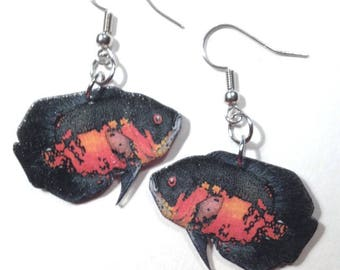 Handcrafted Plastic Troptical Fish Oscar Cichlid Earrings, Necklace or Keyring, Your choice NEW