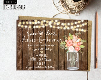 Rustic Save the date Printable, Country Save the Date Printable, Save the Date, Mason Jar Invite, Woodland Save the Date