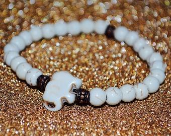 Stone Elephant Beaded Bracelet