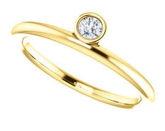 Asymmetrical Diamond Stacking Ring, 14K Gold, Alternative Engagement, April Birthstone