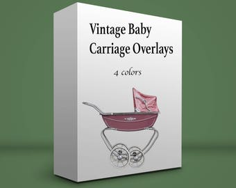 Vintage baby carriage PNG overlay files