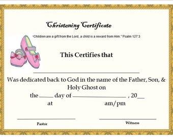 Girls Christening Certificate