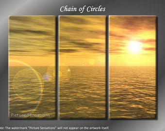 Framed Huge 3 Panel Horizon Ocean Chain of Circles Giclee Canvas Print - Ready to Hang
