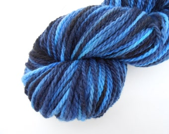 CLEARANCE Blue Flame Hand Dyed Merino Wool Yarn Worsted Weight Blue and Black Tones