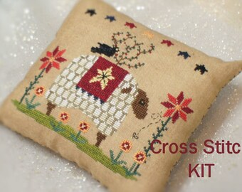 Baa Baa Sheep - Primitive Cross Stitch Kit, DIY kit