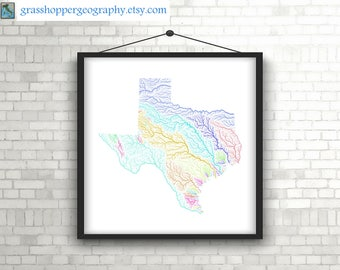River basins of Texas in rainbow colours (high resolution digital print) map print, wall art, poster map, home decor, wall decor, gift
