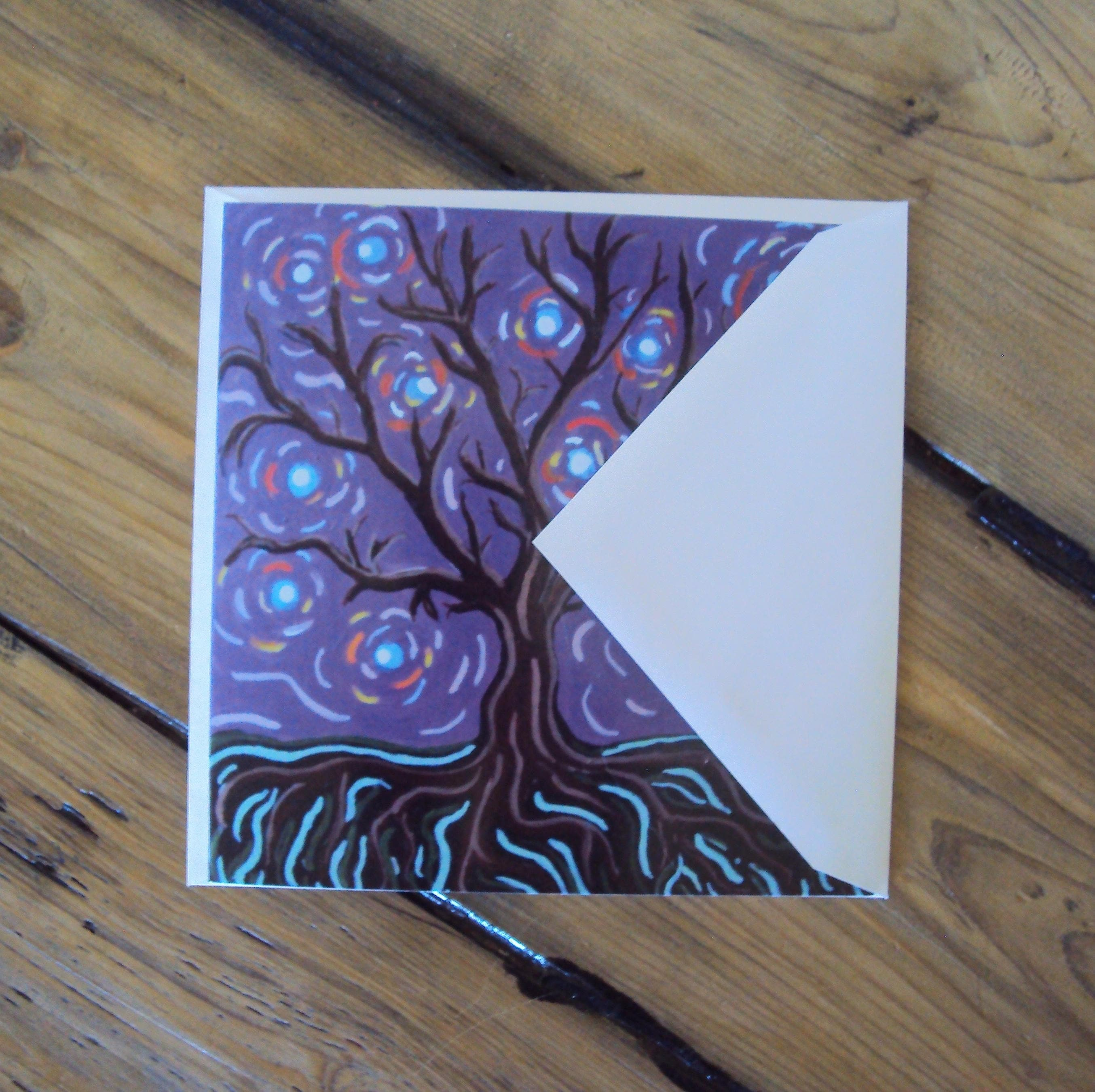 Folk Art Tree Oversized Greeting Card Whimsical Blank Art