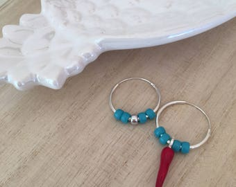 Headbands with glazed red croissants and turquoise bohemian-glass stones-Silver 925