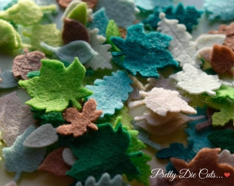 Felt Leaves, Small Green and Brown Leaves, Mixed Felt Foliage, Delicate Die Cuts, Tiny Decorative Leaf, Die Cut Leaf Craft Embellishment