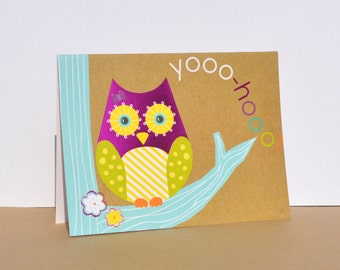 Set of 6 Hello Greeting Cards, Thinking of You Cards, Just Because Cards, Owl Hello Cards, Card Set, Cute Hello Cards