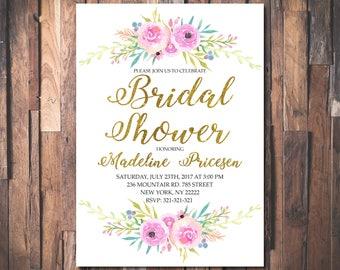 Bridal Shower Invitation Printable Floral Bridal Shower Invite Floral Bridal Shower Bride Wedding Invite Floral  Printable Invitation 1079