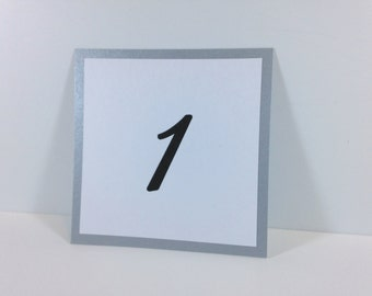 Silver Table Number Cards (set of 5) - Flat