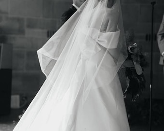 CATHEDRAL VEIL - Trending, Simple DROP Veil w/Blusher, or Royal & Regal Length - Madison