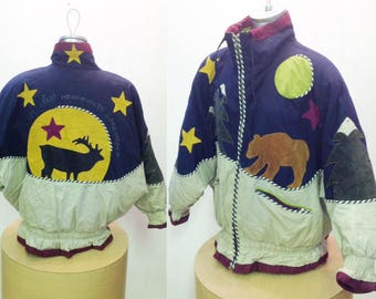 80's 90'sVINTAGE GRAPHIC ,Suede Patchwork,Funky~Double Sided~Winter Jacket~Puffy~wild