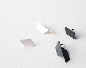 Mismatched Silver Earrings, Geometric Stud Earrings, Mismatched Geometric Earrings, Minimalist Stud Earrings, Statement Earrings